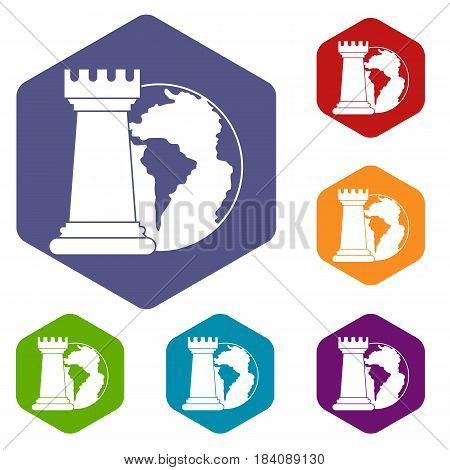 World planet and chess rook icons set hexagon isolated vector illustration