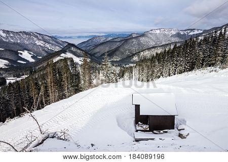 Winter Tatry landscape forest, Jasna resort, Slovakia
