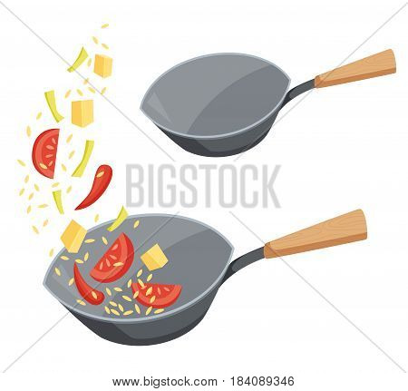 Frying pan wok with fried vegetables and rice or empty. Cooking process vector illustration. Kitchenware and utensils isolated on white. Tasty food