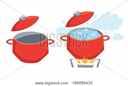 Pot with boil water on stove or empty. Cooking process vector illustration. Kitchenware and utensils isolated on white. Tasty food