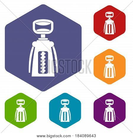 Modern corkscrew icons set hexagon isolated vector illustration