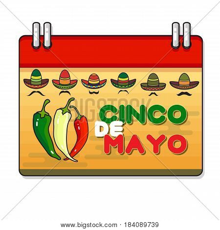 Vector illustration of Cinco ge Mayo Day. Pepper and sombrero. Cartoon calendar.  5 May greeting card.