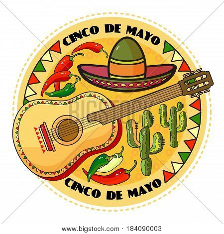 Vector illustration of Cinco ge Mayo Day.  Cartoon  Sombrero, guitar, pepper and cactus.  5 May round greeting card.