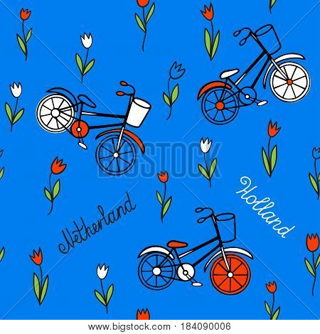 Seamless pattern with tulips and bicycles. Hand drawn in Doodle style on a blue background. Cute background on the theme of Holland.