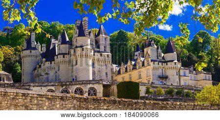 magnificent Usse castle - famous castles of Loure valley, France poster