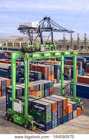 Casablanca, Morocco - April 3, 2017: Container terminal in Casablanca sea port, Morocco
