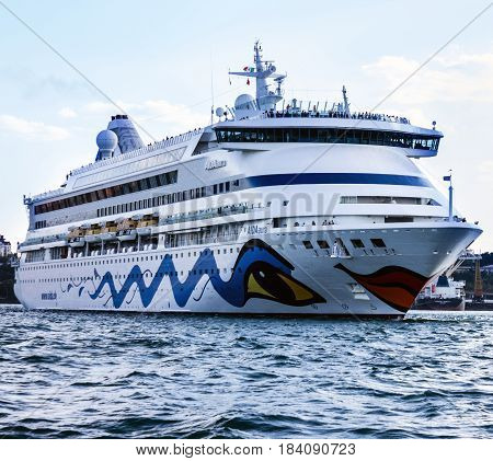 ODESSA, UKRAINE - JULY 22, 2017: Cruise ship Aida Aura came into the port of Odessa - the biggest cruise port of Ukraine.