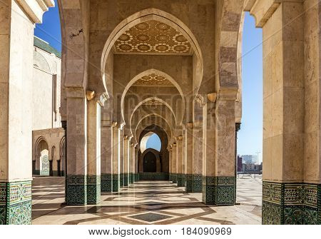 Casablanca, Morocco. Mosque Hassan II arcade gallery
