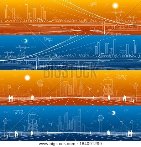 Infrastructure panorama set. Large highway. Big overpass. Airplane fly. Industrial landscape on background. Pipes and plants, power lines, urban scene. Water tower, wind turbines, vector design art