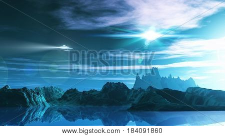 3D render of a science fiction landscape with ufo