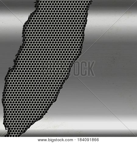 Metallic silver background with torn cutout on perforated metal