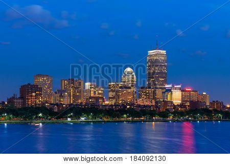 Boston Back Bay skyline at night, Massachusetts, USA