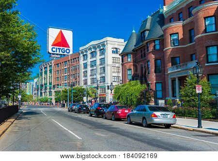 Boston, MA - June of 2016, USA: Boston marathon, view of Kenmore Square and big Citgo logo on rooftop of building