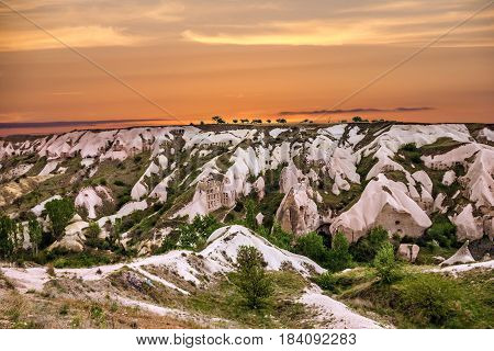 Mountain landscape in national park Goreme, Cappadocia, Turkey