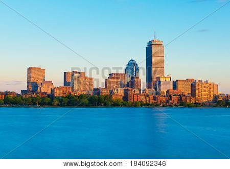 Boston, MA - June 2016, USA: View from Cambridge on Boston downtown during the sunset
