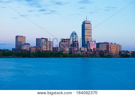 Boston, MA - June 2016, USA: Back Bay skyline during the sunset, view from Charles River