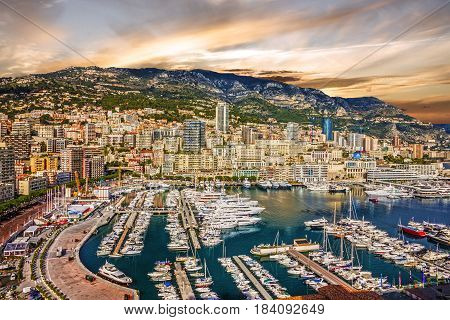 Monaco and Monte Carlo principality marina sunset view, France