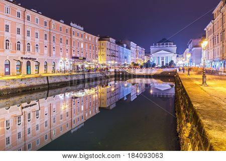 Trieste - December 2016, Italy: Night view of Trieste - the capital city of Friuli Venezia Giulia region
