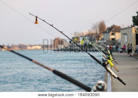 Fishing Pole Set up on the St. Clair River