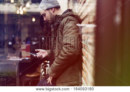 Man Use Mobile Phone Connection Social Network