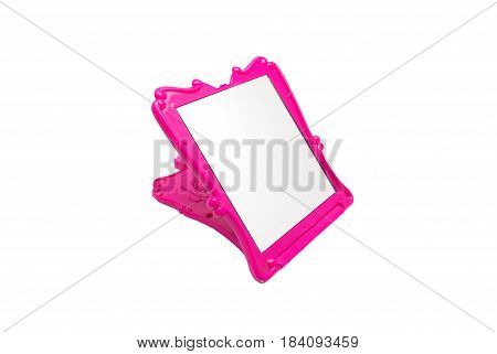 Closeup To Foldable Beautiful Shocking Pink Mirror, Isolated