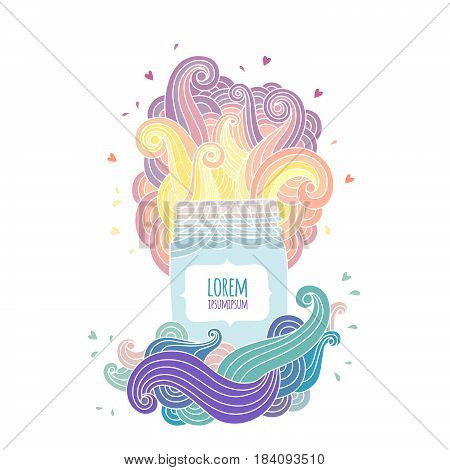 Mason jar with label for text. Fantasy bright illustration with colored waves. Hand draw style vector.