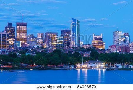 Boston skyline in the evening, Massachusetts, USA