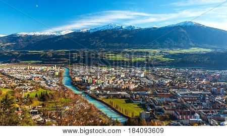 Innsbruck Austria: wide angle aerial panorama of the most popular Austrian city and capital of western state of Tyrol