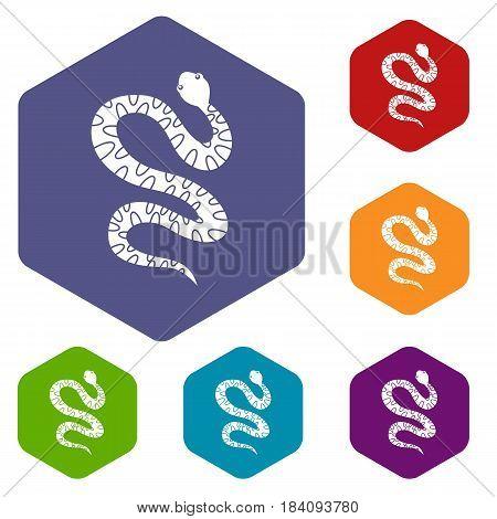 Black writhing snake icons set hexagon isolated vector illustration