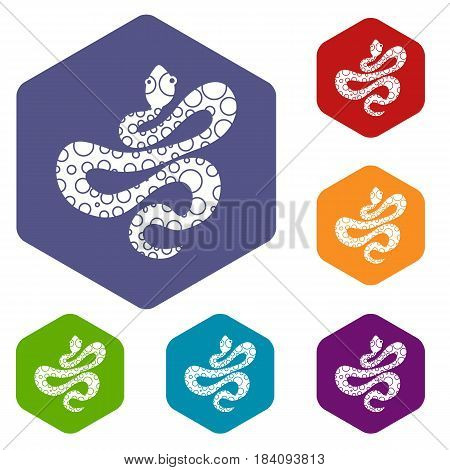 Black dotted snake icons set hexagon isolated vector illustration