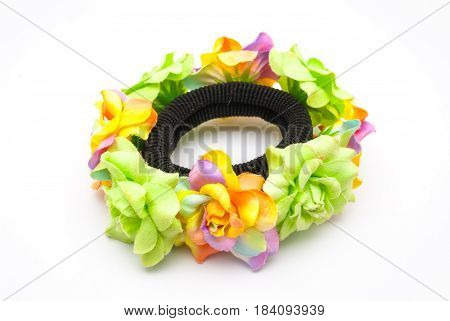 Closeup To Decorated Roses Fabric With Hair Rubber Band, Isolated