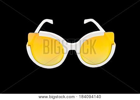 Closeup To Trendy Fashion Yellow Lens Sunglasses, Isolated