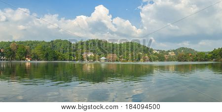 Panorama of lake and Temple of the Sacred Tooth Relic at Kandy Sri Lanka