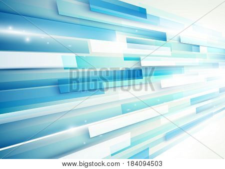 Abstract blue and white rectangles motion technology digital hi tech concept background