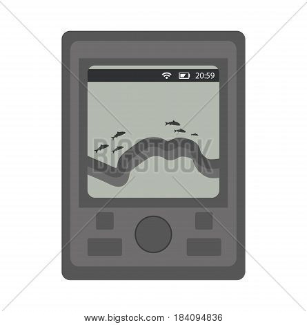 Sounder for fishing. icon flat, cartoon style. Isolated on white background. Vector illustration, clip-art