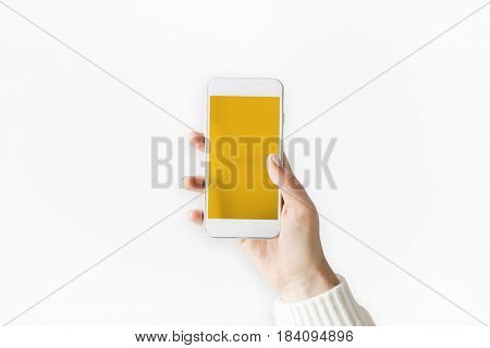 Hand holding mobile smartphone concept