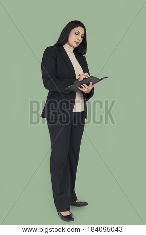 Indian Asian Woman Business Notebook Concept