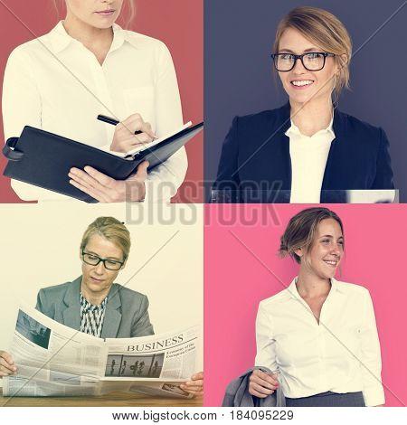 People Set of Diversity Business Women Studio Portrait