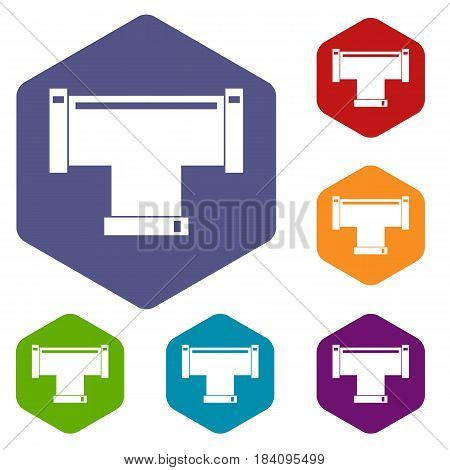 T pipe connection icons set hexagon isolated vector illustration