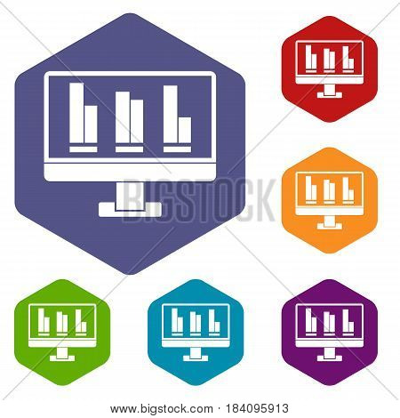 Business graph at computer screen icons set hexagon isolated vector illustration