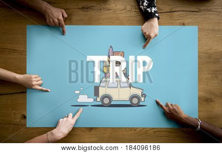 Hands with illustration of discovery journey road trip traveling banner