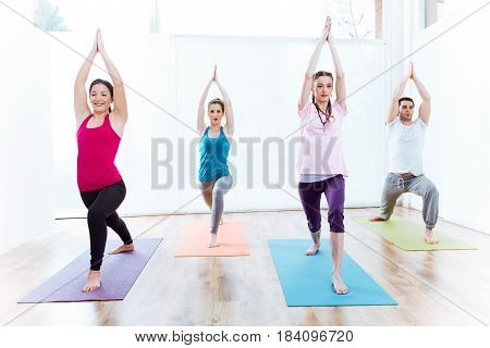 Portrait of group of people practicing yoga at home. Virabhadrasana pose.