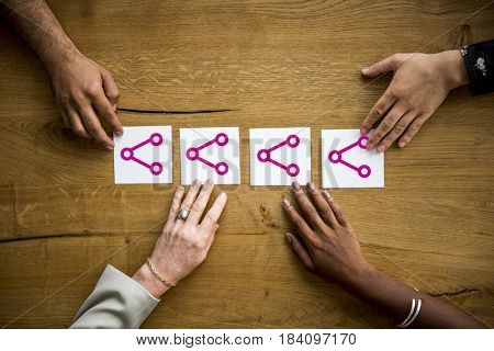 Hands holding network graphic overlay banner