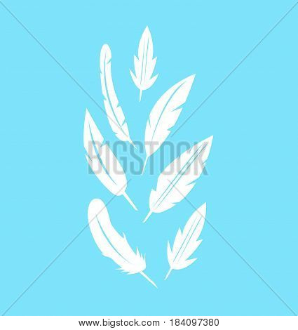 Vector feather icons set on blue background