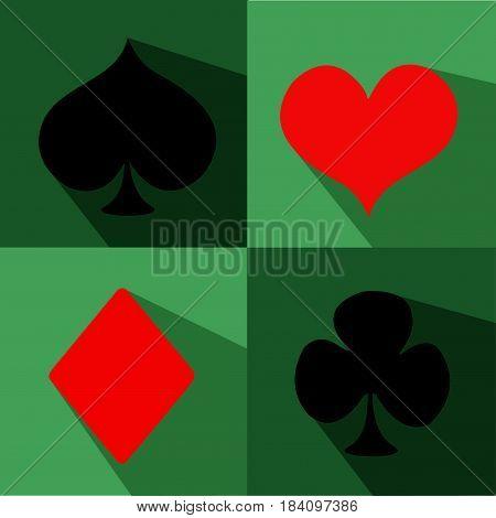 Playing Card Suit Icon Symbol Set illustration