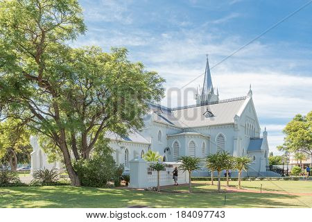 ROBERTSON SOUTH AFRICA - MARCH 26 2017: The Dutch Reformed Church in Robertson a town on the scenic Route 62 in the Western Cape Province