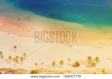 aerial birdeye view of Las Teresitas beach, Tenerife islandr, retro toned