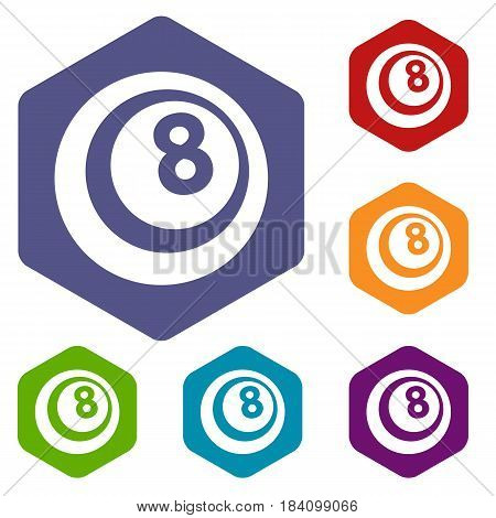 Black and white snooker eight pool icons set hexagon isolated vector illustration