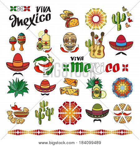 Viva Mexico icon. Set of cute various mexican icons isolated on white background. Cartoon  Sombrero, guitar, pepper, cactus, maraca, tequila and skull.