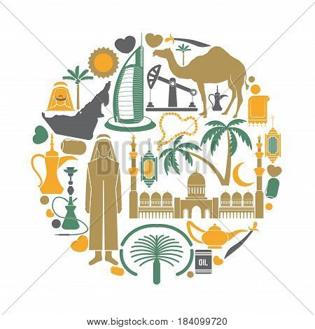 Arab Emirates sightseeing landmarks and famous vector travel attractions poster. Vector flat icons of Arabian map and flag, Burj al Arab and Jumeira, camels and oil, mosque and shisha